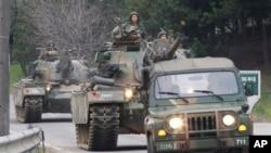 지난달 30일 한국 파주시 판문점 인근에서 실시된 미·한 연합훈련에 참가한 한국군 탱크. (자료사진)