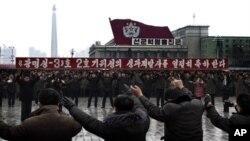 КНДР. Празднование запуска спутника «Кванмёнсон-3». 14 декабря 2012г.