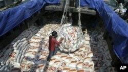 수출을 위해 선적되는 캄보디아 쌀 (자료사진)
