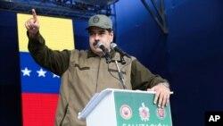 El presidente de Venezuela, Nicolás Maduro, durante la ceremonia de fin de año de las Fuerzas Armadas Bolivarianas en Caracas, Venezuela, el 28 de diciembre del 2018.