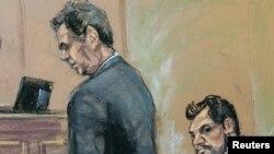 Генеральный директор турецкого банка Halkbank Мехмет Хакан Атилла в нью-йоркском суде. Рисунок Рейтер