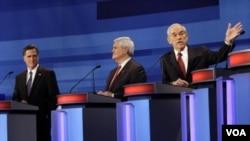 Los principales contendientes por la nominación presidencial republicana son, a dos semanas de la primera votación en Iowa, Mitt Romney, Newt Gingrich y Ron Paul.