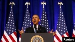 အေမရိကန္သမၼတ Barack Obama အေမရိကန္ အမ်ိဳးသား လံုၿခံဳေရးေအဂ်င္စီ NSAနဲ႔ပတ္သက္တဲ့ မိန္႔ခြန္းေျပာစဥ္။ (ဇန္နဝါရီ ၁၇၊ ၂၀၁၄)