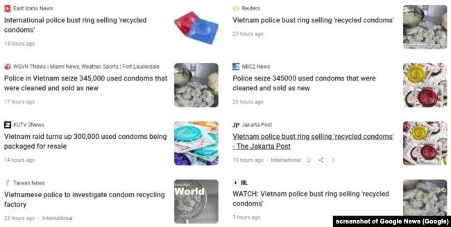 Báo chí thế giới, trong đó có Reuters, đưa tin về vụ công an bắt nhóm tái chế bao cao su, 24/9/2020