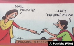 Komisi Pemilihan Umum India menyampaikan pesan tentang Pemilu melalui selebaran yang ditempel pada tembok-tembok di kota New Delhi.