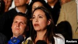 La diputada opositora María Corina Machado habla durante una conferencia de prensa en la Asamblea Nacional, en Caracas.