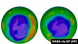 This combination of images made available by NASA shows areas of low ozone above Antarctica on September 2000, left, and September 2018. The purple and blue colors are where there is the least ozone