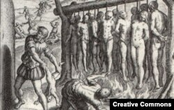 """...and they burned the Indians alive.' Illustration by Theodor de Bry, published in 1552 in 'A Short Account of the Destruction of the Indies', written by Spanish friar Bartolomé de las Casas in 1542"