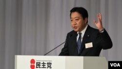 Menteri Keuangan Jepang Yoshihiko Noda memberikan sambutannya, sesaat setelah terpilih sebagai pemimpin baru partai Demokrat Jepang (29/8).