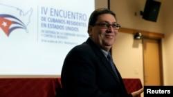 El canciller cubano Bruno Rodríguez en una conferencia con residentes cubanos en los Estados Unidos, en el Howard University Hospital, Washington, el 28 de octubre de 2017.