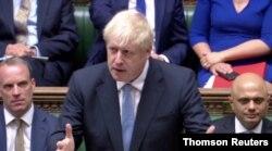 PM Inggris Boris Johnson saat berpidato di hadapan anggota parlemen Inggris di London, 24 Juli 2019.