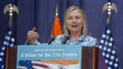 هیلاری کلینتون وزیر امور خارجه آمریکا در هند. ۲۰ ژوئیه ۲۰۱۱