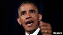 Predsednik Obama govori o tajnom prikupljanju podataka o telefonskim razgovorima za vreme posete San Hozeu u Kaliforniji, 7. juna 2013.