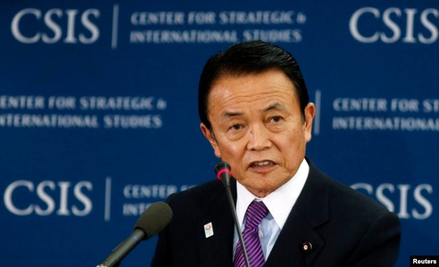 FILE - Japanese Finance Minister Taro Aso.