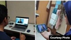 Foto berbagai cara mahasiswa UGM mengikuti kuliah online. (Foto courtesy: Made Andi)