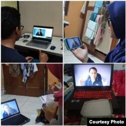 Berbagai cara mahasiswa UGM mengikuti kuliah online. (Foto courtesy: Made Andi)