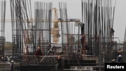 金边建筑工地的工人。(资料照)