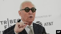 "FILE - Political consultant Roger Stone attends a screening of ""Get Me Roger Stone"" at the SVA Theatre during the 2017 Tribeca Film Festival."