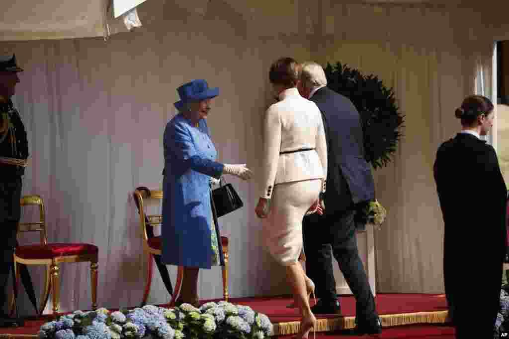 خوش آمدگویی ملکه الیزابت به پرزیدنت ترامپ و بانوی اول در کاخ ویندزور
