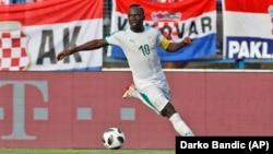 Sadio Mané lors d'un match contre la Croatie, Russie, le 8 juin 2018. (AP Photo/Darko Bandic)