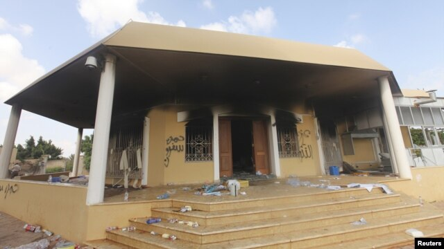 An exterior view of the US consulate in Benghazi September 12, 2012, a day after it was attacked by militants.