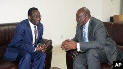 马里临时领导人特拉奥雷(左)与新任命的总理迪亚拉交谈