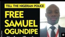 L'affiche de Amnesty International pour demander la libération de Samuel Ogundipe, le 14 août 2018.