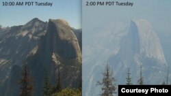 优胜美地国家公园半圆顶岩山失火前后对比(Courtesy photo)