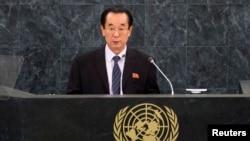 1일 북한의 박길연 외무성 부상이 제68차 유엔총회에서 기조연설을 하고 있다.
