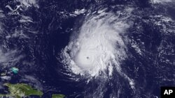 A satellite image shows Hurricane Ophelia in the Atlantic Ocean September 30, 2011.