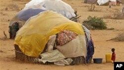Un enfant devant une hutte dans un camp de réfugiés de Dadaab le 9 juillet 2012.