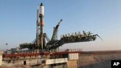지난 29일 카자흐스탄 바이코누르 우주비행장에서 발사 대기 중인 러시아의 '프로그레스 MS-04' 무인우주화물선.