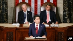 Japanese Prime Minister Shinzo Abe speaks before a joint meeting of Congress on Capitol Hill in Washington, April 29, 2015. (AP Photo/Carolyn Kaster)