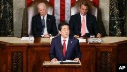 PM Jepang Shinzo Abe hari Rabu (29/4) memberikan pidato di depan anggota Kongres AS di Washington DC.