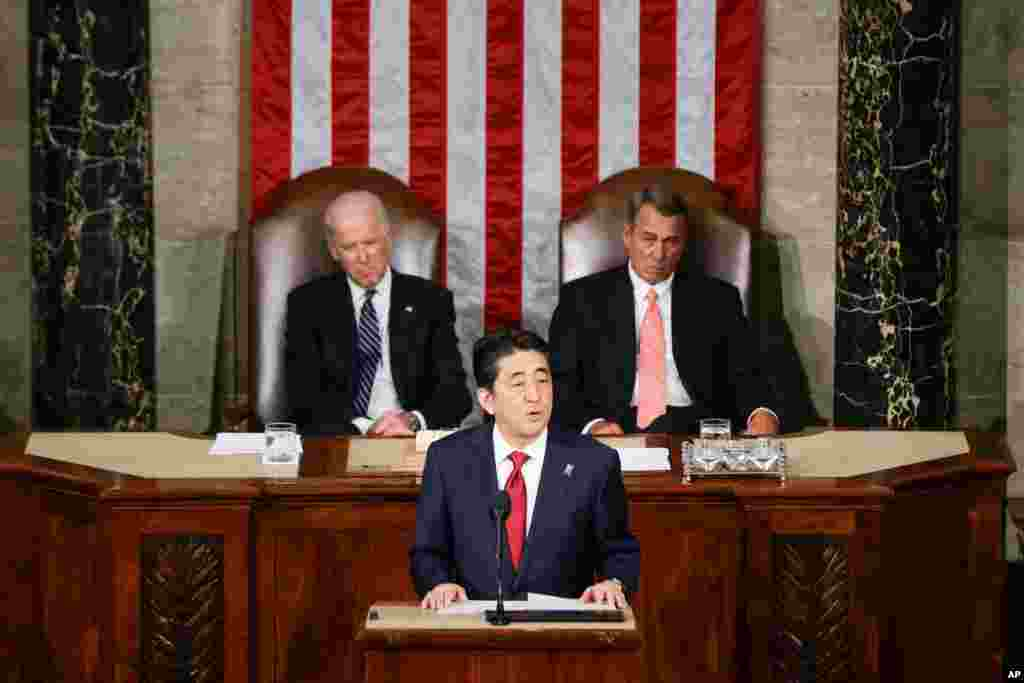 Yaponiya rahbari Shinzo Abe AQSh Kongressda