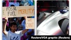 Protesti protiv klimatskih promena tokom Sajma automobila u Frankfurtu i Mercedes-Benz EQ Silver Arrow