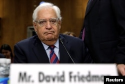 FILE - David Friedman testifies before a Senate Foreign Relations Committee hearing on his nomination to be U.S. ambassador to Israel, on Capitol Hill in Washington, Feb, 16, 2017.