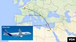從巴黎飛往開羅途中失蹤的埃及航空公司客機圖像及飛行路線示意圖。