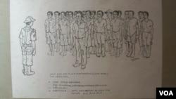 Sketsa karya Gumelar Demokrasno, mantan tahanan politik 1965, menggambarkan saat apel pagi para tahanan politik 65 di unit 4 Savanajaya Pulau Buru, Maluku (VOA/Andylala).