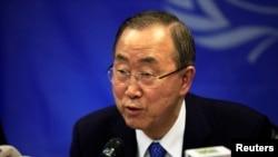 Le Secrétaire général Ban Ki-moon des Nations unies à Juba, Soudans du Sud, le 6 mai, 2014. (REUTERS/Andreea Campeanu)