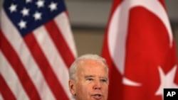 22일 터키에서 연설하는 바이든 미국 부통령