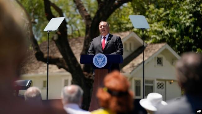 蓬佩奥国务卿在尼克松总统图书馆发表题为《共产中国与自由世界的未来》的演说。(2020年7月23日)