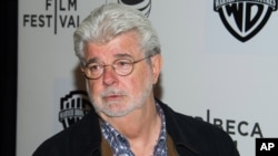 FILE - George Lucas attends the Tribeca Talks: Director Series during the Tribeca Film Festival at the BMCC Tribeca Performing Arts Center on Friday, April 17, 2015, in New York.