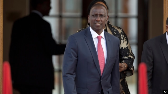 FILE - Kenya's Deputy President William Ruto arrives to attend a press conference in Nairobi, Kenya, July 25, 2015. Prosecutors at the ICC will focus on weight of evidence to seek a post-election violence conviction against Ruto after multiple witnesses withdrew their testimony.