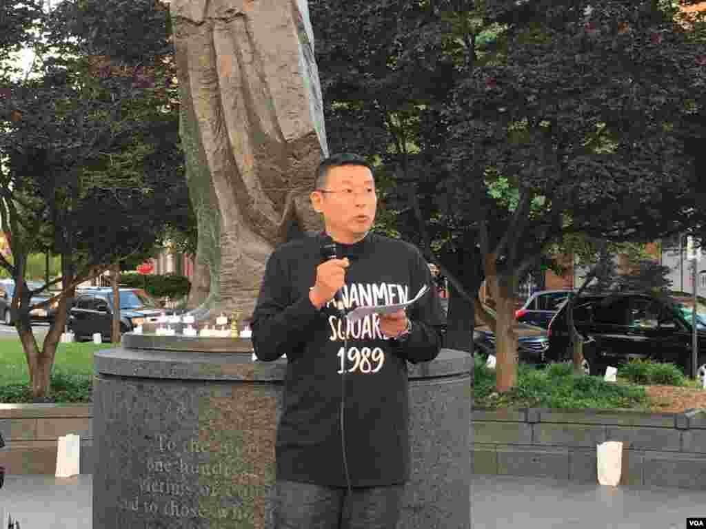 公民力量创办人杨建利博士发表讲话。他说,六四精神仍在延续,29年前的那场抗争在今天还在继续。