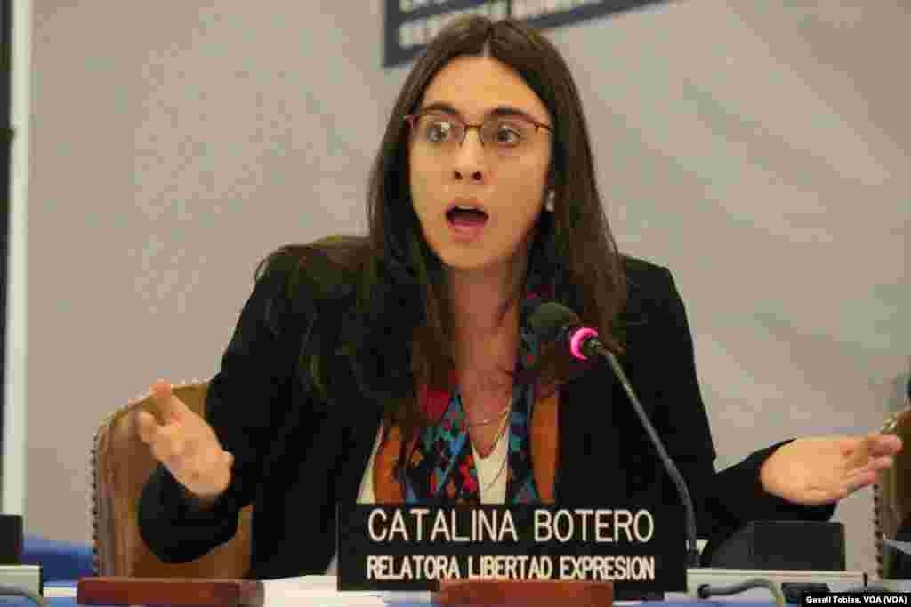 """Catalina Botero, relatora especial de Libertad de Expresión, pidió explicaciones a los representantes del gobierno de Venezuela sobre los """"supuestos"""" abusos a periodistas u otras personas que intentaban informar sobre lo que ocurre en Venezuela utilizando las redes sociales."""