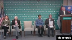 Baskara T. Wardaya, S.J., Ph.D. (duduk, nomor tiga dari kiri), di antara para panelis dalam acara diskusi di Hudson Institute, Washington, D.C., July 9, 2019. (Photo: videograb / Hudson Institute)