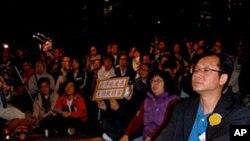 香港抗议者要求释放刘晓波(美国之音黎堡拍摄)