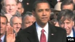 2009年一月奧巴馬第一次宣誓就任美國總統