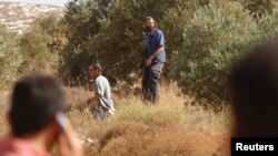 FILE - As a Palestinian man looks on, Jewish settlers carry rifles as they walk around olive trees during harvest time near the Jewish settlement of Elone Moreh in the West Bank village of Azmut, Oct. 15, 2010.